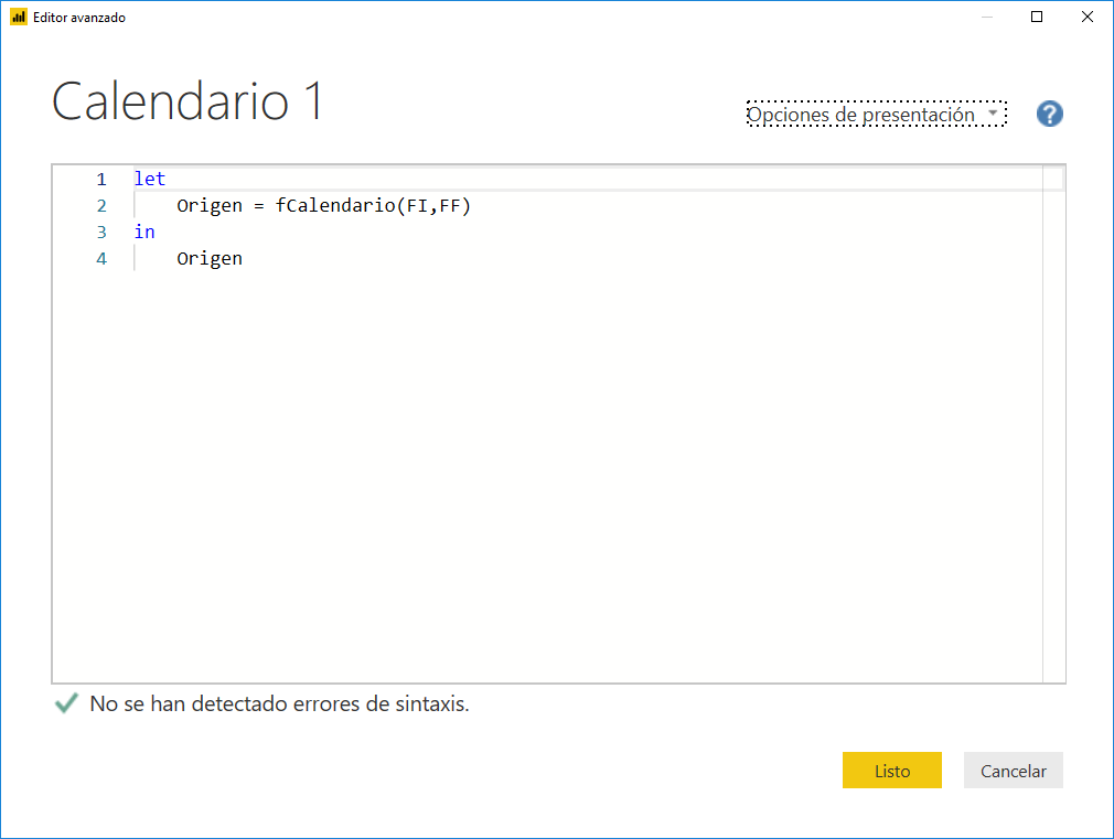 Crear un calendario en Power Query