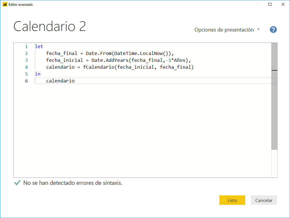 Crear un Calendario en Power Query 2