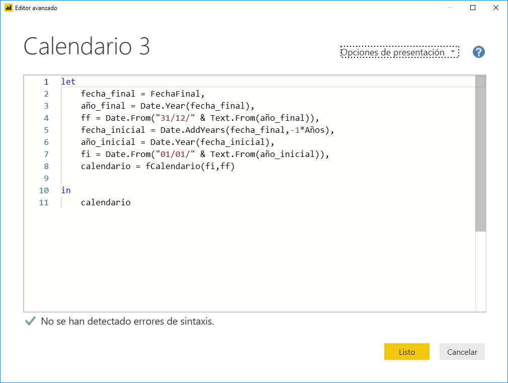 Crear un Calendario en Power Query 3