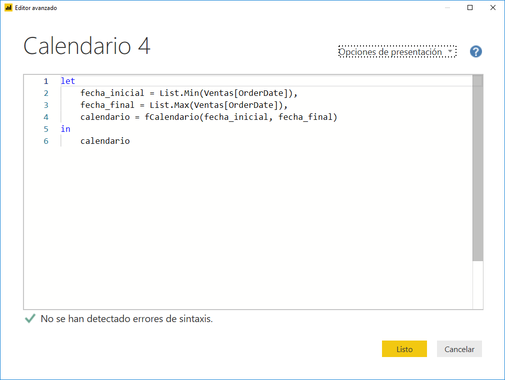 Crear un Calendario en Power Query 4