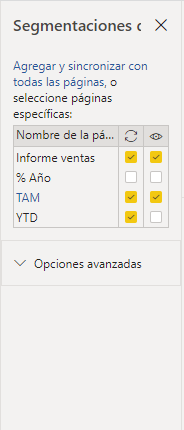 Panel de segmentaciones de datos en Power BI Desktop